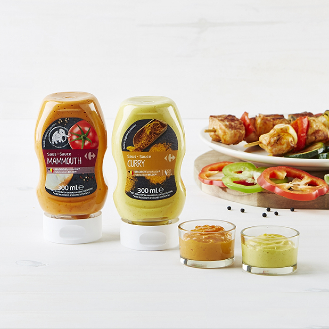 Sauces Mammouth et Curry Carrefour